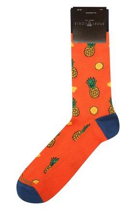 Мужские хлопковые носки STORY LORIS оранжевого цвета, арт. 5503 | Фото 1 (Материал внешний: Хлопок; Кросс-КТ: бельё)