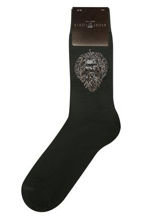 Мужские хлопковые носки STORY LORIS темно-серого цвета, арт. 5539 | Фото 1 (Материал внешний: Хлопок; Кросс-КТ: бельё)