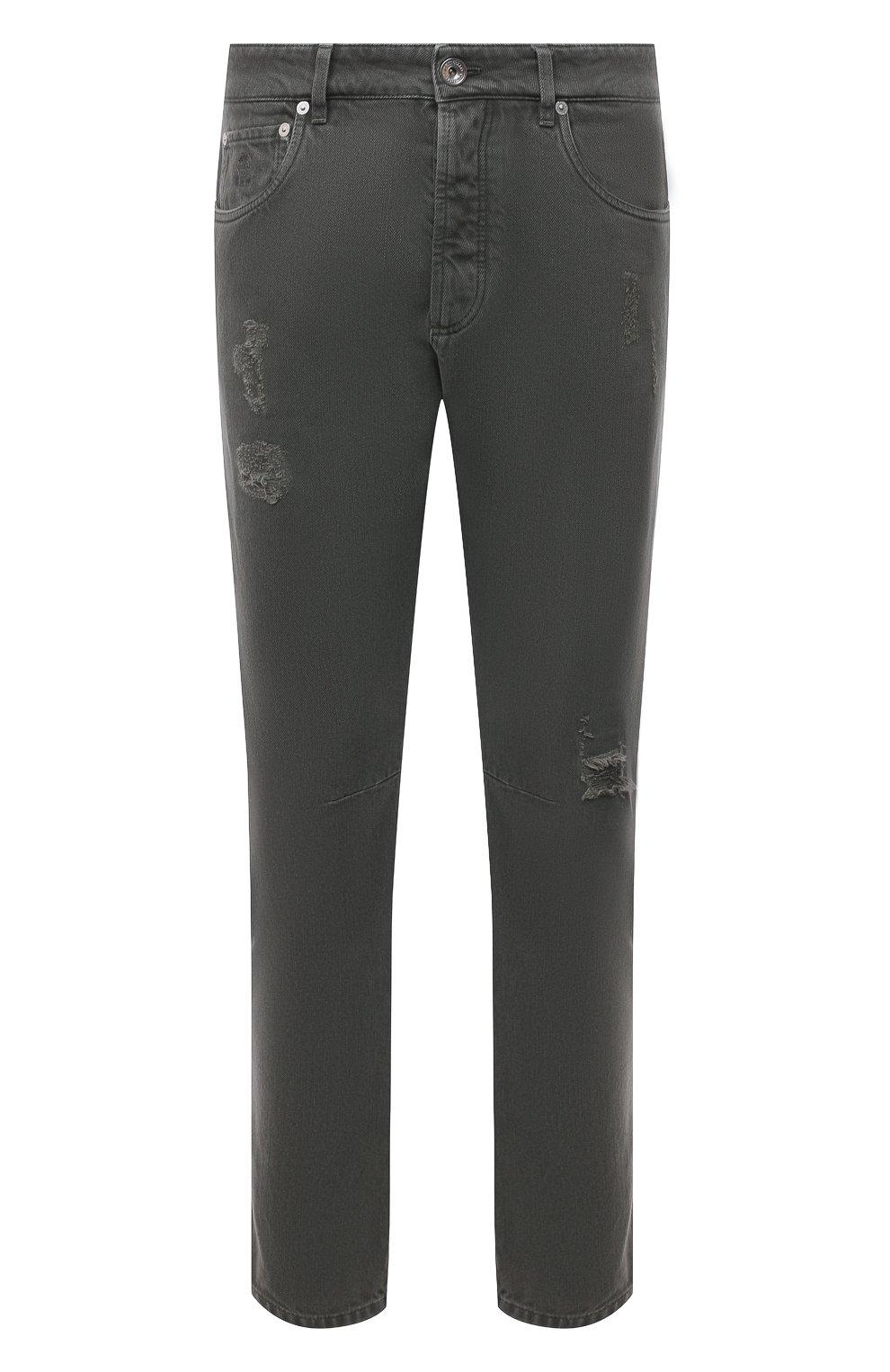 Мужские джинсы BRUNELLO CUCINELLI хаки цвета, арт. M262PX2340   Фото 1