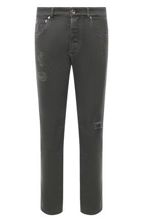 Мужские джинсы BRUNELLO CUCINELLI хаки цвета, арт. M262PX2340 | Фото 1