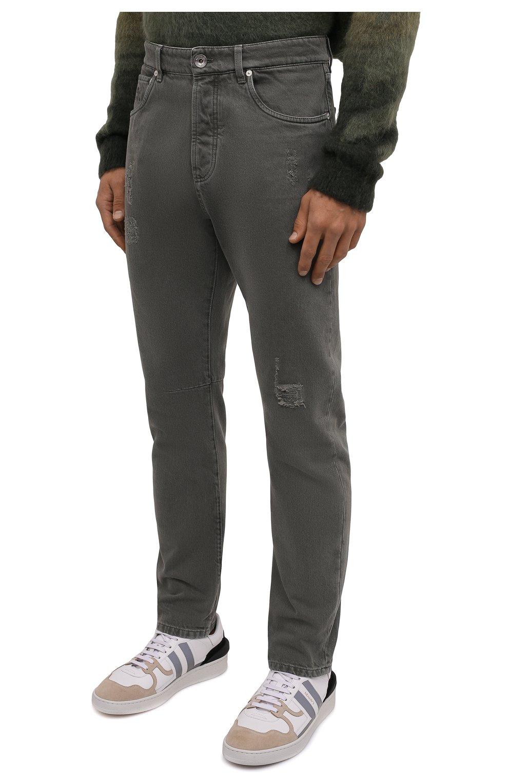 Мужские джинсы BRUNELLO CUCINELLI хаки цвета, арт. M262PX2340   Фото 3