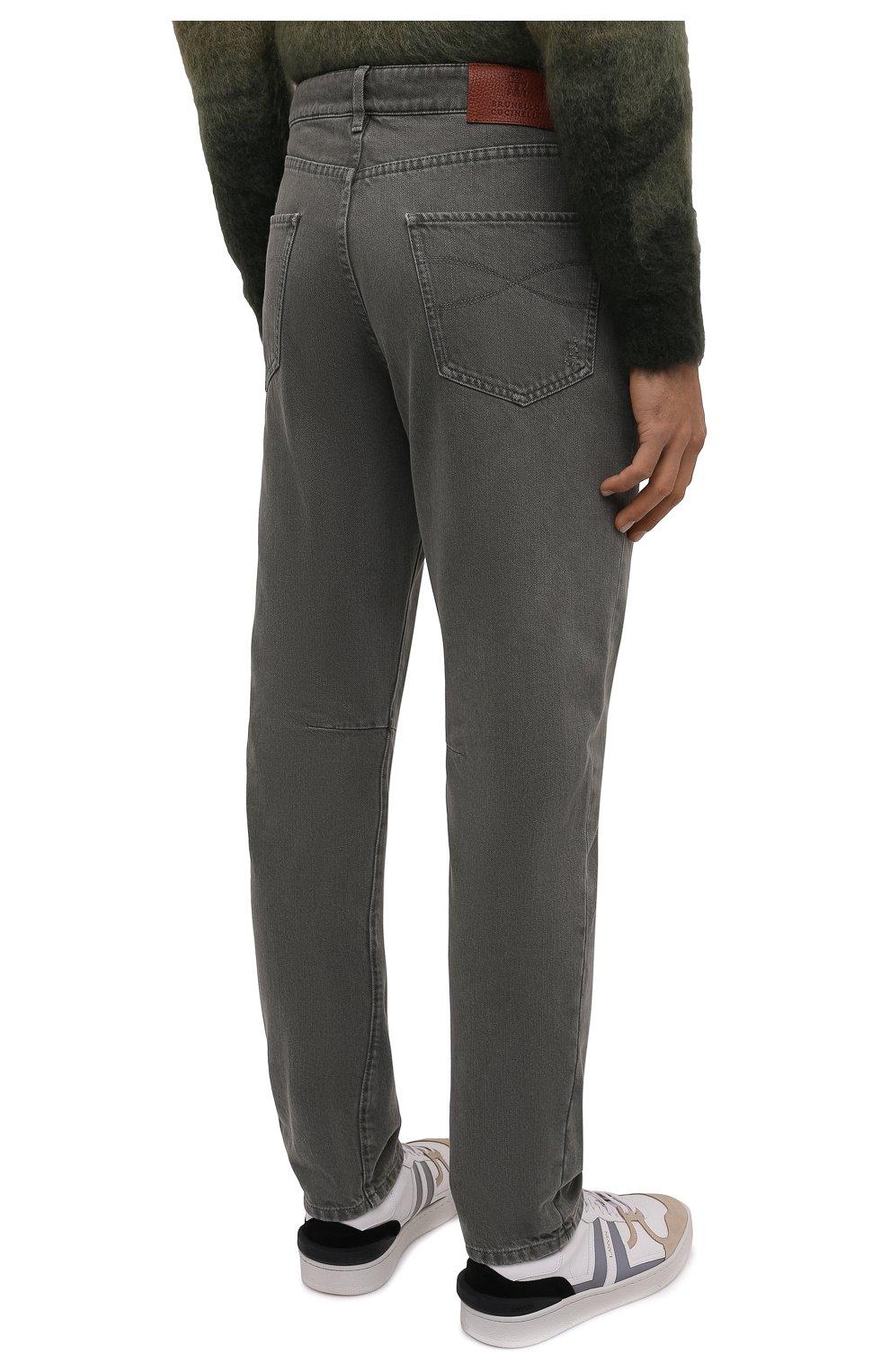 Мужские джинсы BRUNELLO CUCINELLI хаки цвета, арт. M262PX2340   Фото 4
