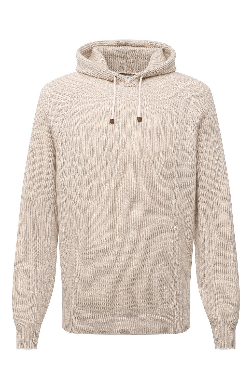 Мужской кашемировый свитер BRUNELLO CUCINELLI бежевого цвета, арт. M22700209   Фото 1
