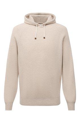 Мужской кашемировый свитер BRUNELLO CUCINELLI бежевого цвета, арт. M22700209 | Фото 1
