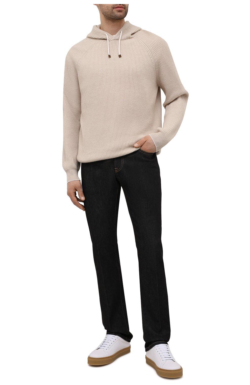Мужской кашемировый свитер BRUNELLO CUCINELLI бежевого цвета, арт. M22700209   Фото 2