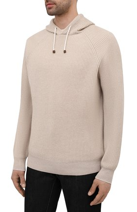 Мужской кашемировый свитер BRUNELLO CUCINELLI бежевого цвета, арт. M22700209   Фото 3