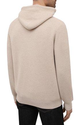 Мужской кашемировый свитер BRUNELLO CUCINELLI бежевого цвета, арт. M22700209   Фото 4