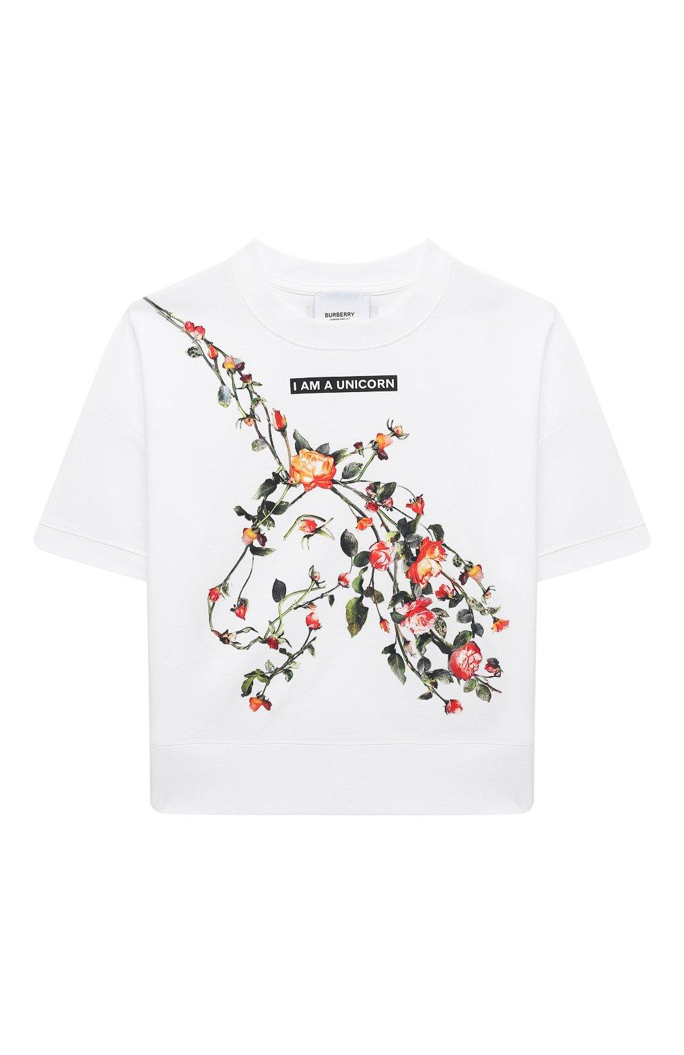 Детская хлопковая футболка BURBERRY белого цвета, арт. 8038442 | Фото 1