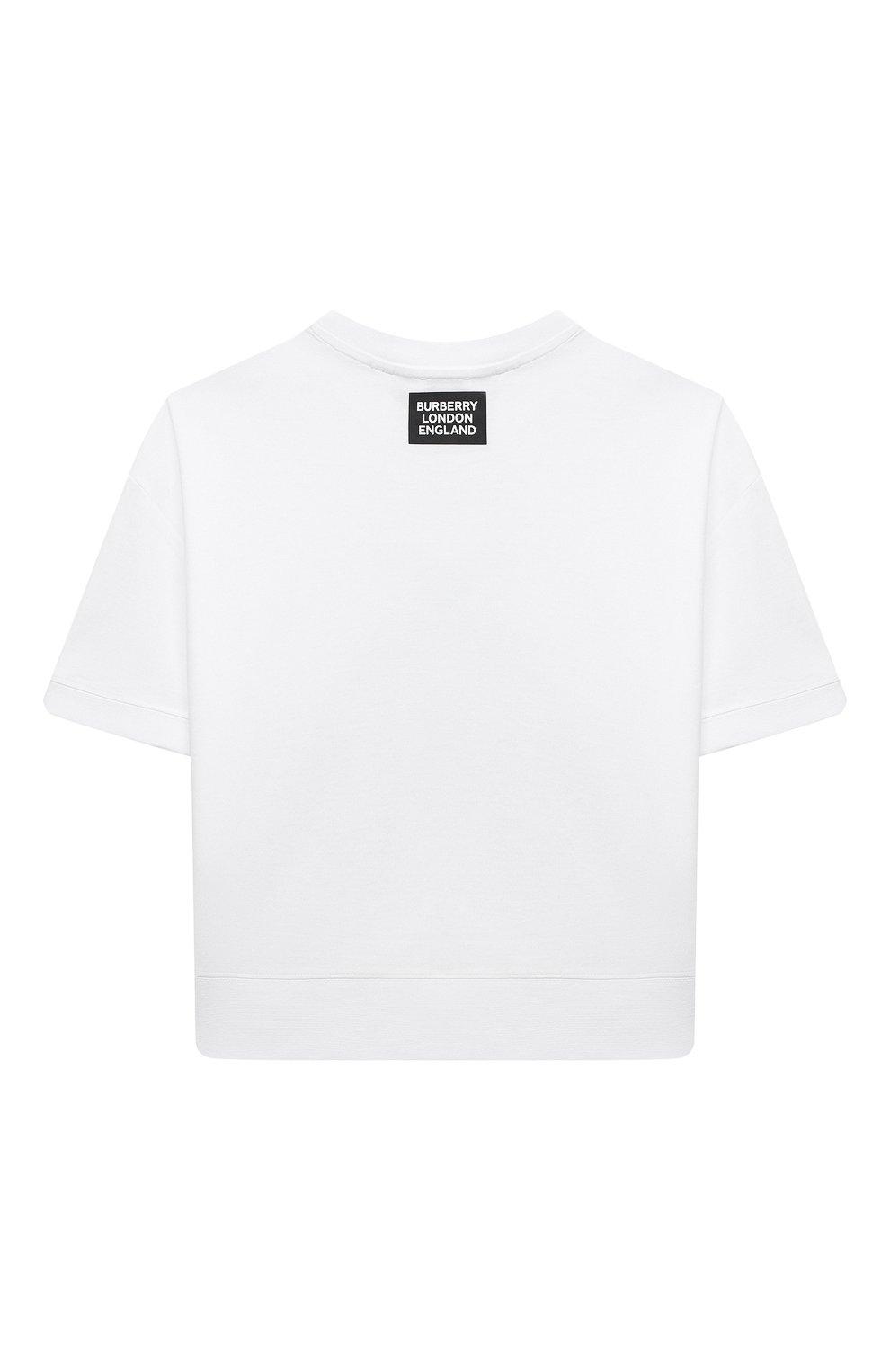 Детская хлопковая футболка BURBERRY белого цвета, арт. 8038442 | Фото 2