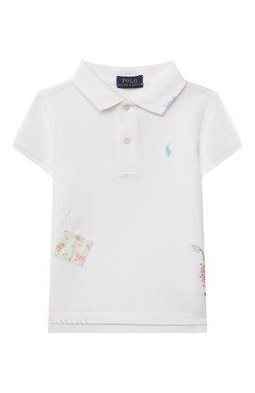 Детское хлопковое поло RALPH LAUREN белого цвета, арт. 312835144 | Фото 1