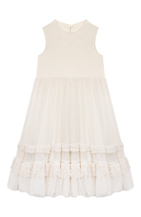 Детское платье FENDI молочного цвета, арт. JFB446/AEZF/3A-6A | Фото 1