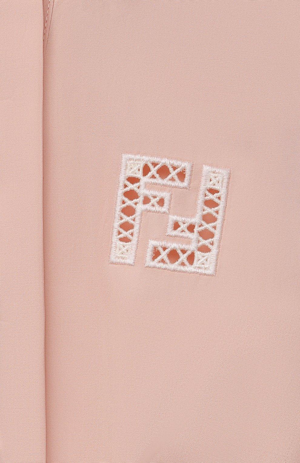 Детское хлопковое платье FENDI светло-розового цвета, арт. JFB447/AEXZ/8A-12+ | Фото 3 (Рукава: Длинные; Случай: Повседневный; Материал внешний: Хлопок; Девочки Кросс-КТ: Платье-одежда; Ростовка одежда: 10 - 11 лет | 140 - 146см, 12 лет | 152 см, 8 лет | 128 см)