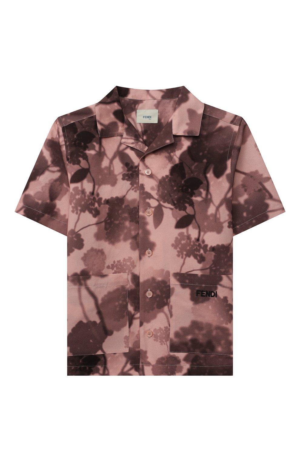 Детская хлопковая рубашка FENDI розового цвета, арт. JUC007/AEZA/3A-6A | Фото 1 (Рукава: Короткие; Случай: Повседневный; Материал внешний: Хлопок; Ростовка одежда: 6 лет | 116 см)