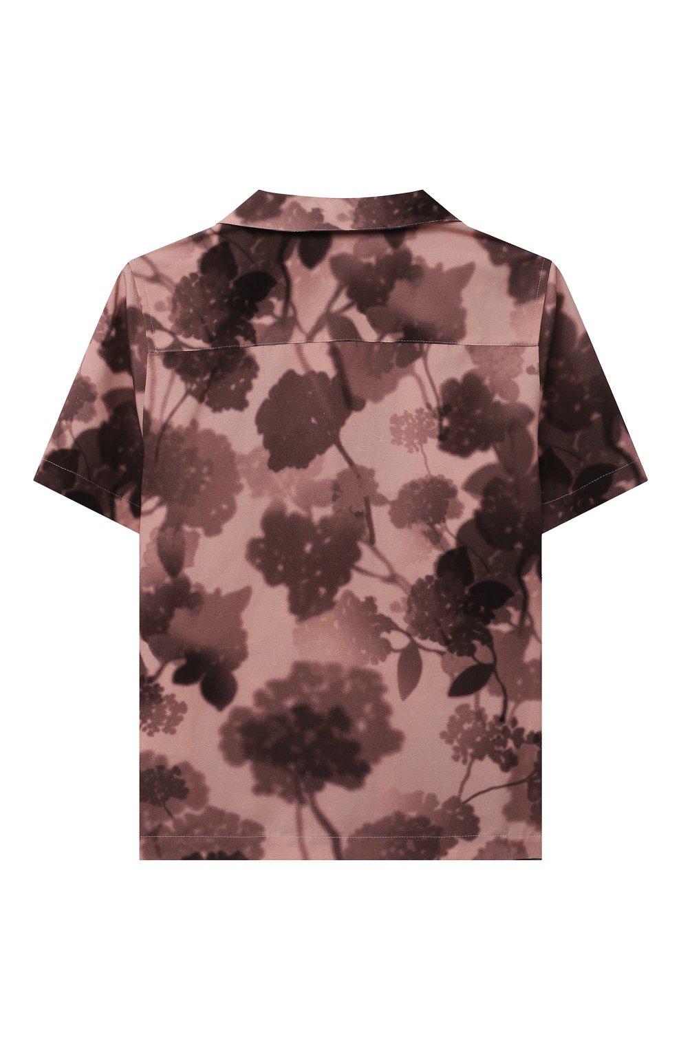 Детская хлопковая рубашка FENDI розового цвета, арт. JUC007/AEZA/3A-6A | Фото 2 (Рукава: Короткие; Случай: Повседневный; Материал внешний: Хлопок; Ростовка одежда: 6 лет | 116 см)