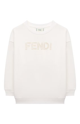 Детский хлопковый свитшот FENDI белого цвета, арт. JUH030/5V0/8A-12+ | Фото 1