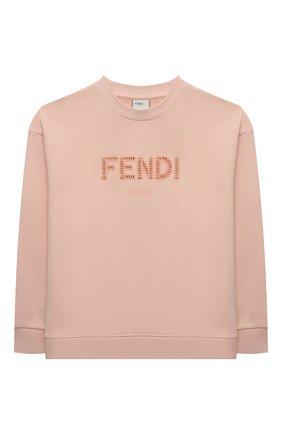 Детский хлопковый свитшот FENDI светло-розового цвета, арт. JUH030/5V0/8A-12+ | Фото 1