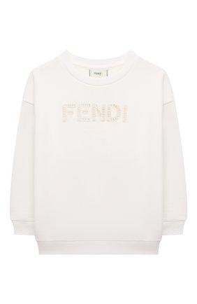Детский хлопковый свитшот FENDI белого цвета, арт. JUH030/5V0/3A-6A | Фото 1