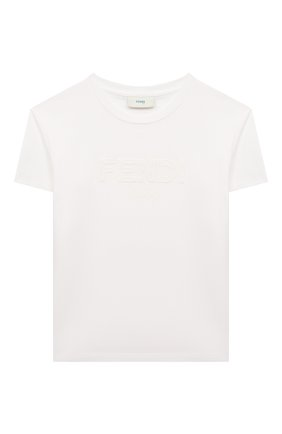Детская хлопковая футболка FENDI белого цвета, арт. JUI028/7AJ/8A-12+ | Фото 1