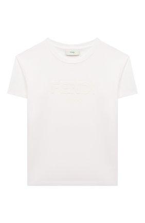 Детская хлопковая футболка FENDI белого цвета, арт. JUI028/7AJ/3A-6A | Фото 1