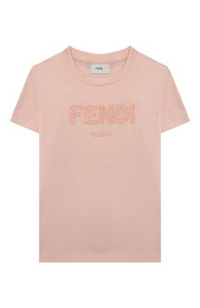 Детская хлопковая футболка FENDI светло-розового цвета, арт. JUI028/7AJ/3A-6A | Фото 1