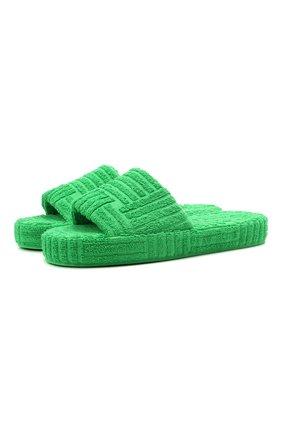 Мужские текстильные шлепанцы resort BOTTEGA VENETA зеленого цвета, арт. 660245/V0VW0 | Фото 1