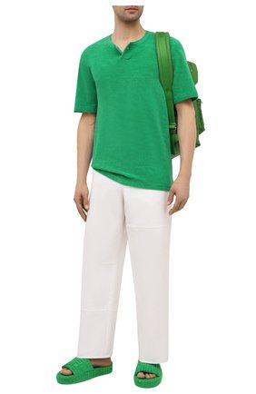 Мужские текстильные шлепанцы resort BOTTEGA VENETA зеленого цвета, арт. 660245/V0VW0 | Фото 2