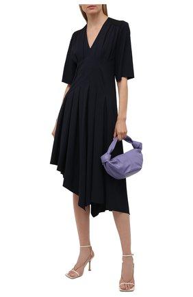 Женское платье из вискозы LOEWE черного цвета, арт. S540Y09XA2 | Фото 2 (Длина Ж (юбки, платья, шорты): Миди; Женское Кросс-КТ: Платье-одежда; Стили: Бохо; Рукава: 3/4; Случай: Повседневный; Материал внешний: Вискоза)