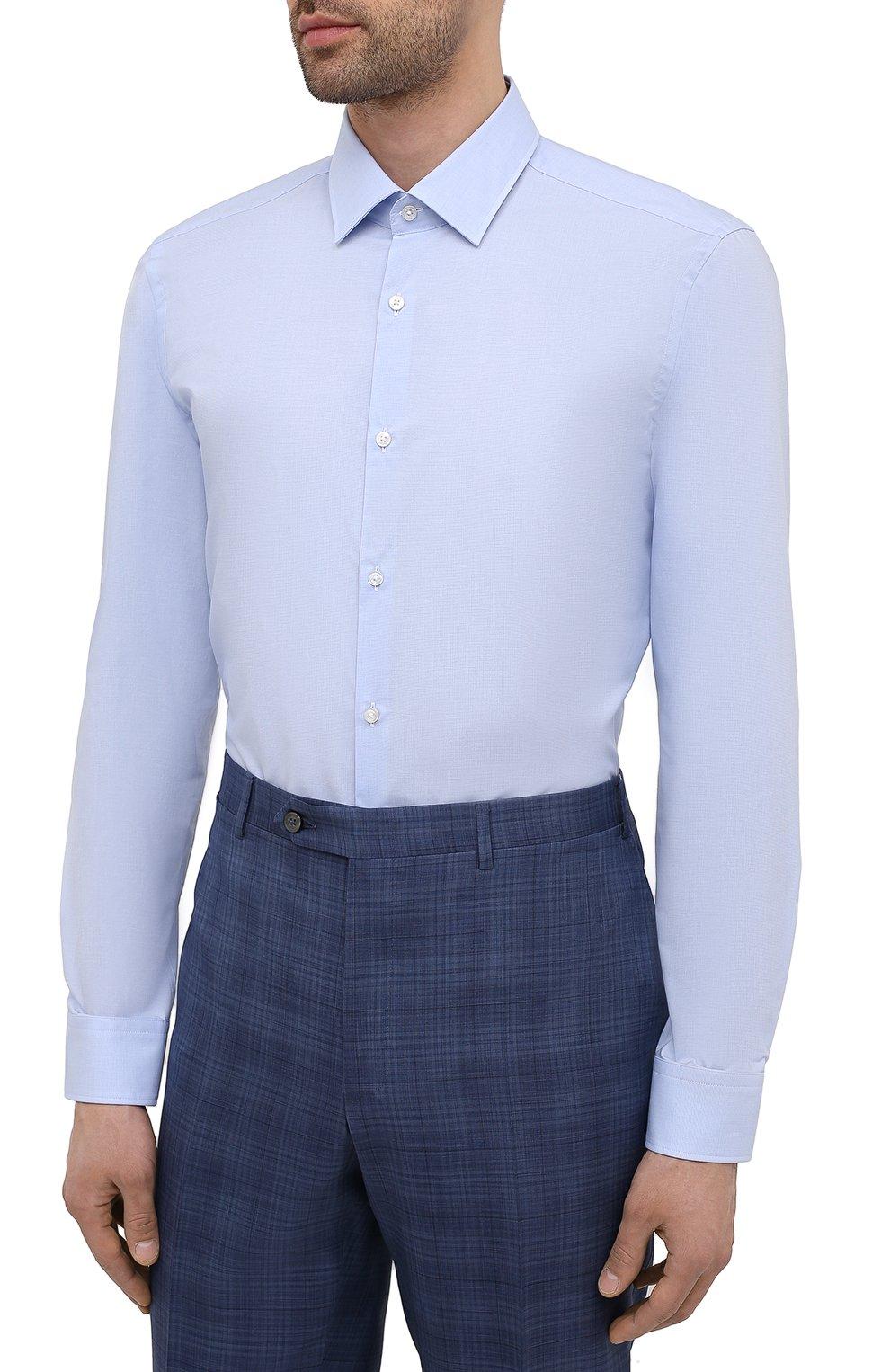 Мужская хлопковая сорочка HUGO голубого цвета, арт. 50453406 | Фото 3