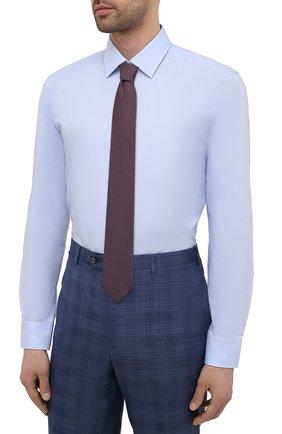 Мужская хлопковая сорочка HUGO голубого цвета, арт. 50453406 | Фото 4