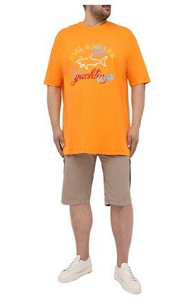 Мужские хлопковые шорты PAUL&SHARK бежевого цвета, арт. 21414003/E7A/62-64 | Фото 2