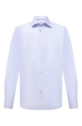 Мужская хлопковая сорочка ETON голубого цвета, арт. 1000 02202 | Фото 1 (Рукава: Длинные; Длина (для топов): Удлиненные; Принт: Полоска; Материал внешний: Хлопок; Случай: Формальный; Воротник: Акула; Стили: Классический; Рубашки М: Regular Fit; Манжеты: На пуговицах)