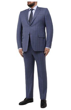 Мужская хлопковая сорочка ETON голубого цвета, арт. 1000 02202 | Фото 2 (Рукава: Длинные; Длина (для топов): Удлиненные; Принт: Полоска; Материал внешний: Хлопок; Случай: Формальный; Воротник: Акула; Стили: Классический; Рубашки М: Regular Fit; Манжеты: На пуговицах)
