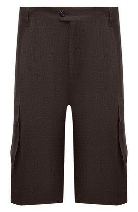 Мужские льняные шорты CORTIGIANI коричневого цвета, арт. 113655/0000/2385/60-70 | Фото 1