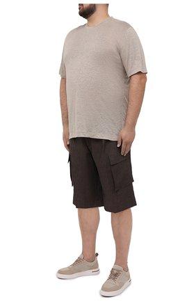 Мужские льняные шорты CORTIGIANI коричневого цвета, арт. 113655/0000/2385/60-70 | Фото 2