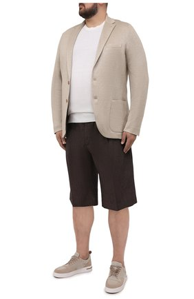 Мужские льняные шорты CORTIGIANI коричневого цвета, арт. 113660/0000/2385/60-70 | Фото 2