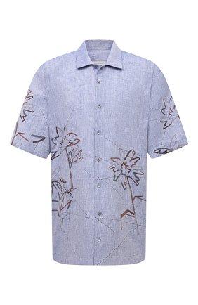 Мужская льняная рубашка CORTIGIANI синего цвета, арт. 115620/0000/60-70 | Фото 1