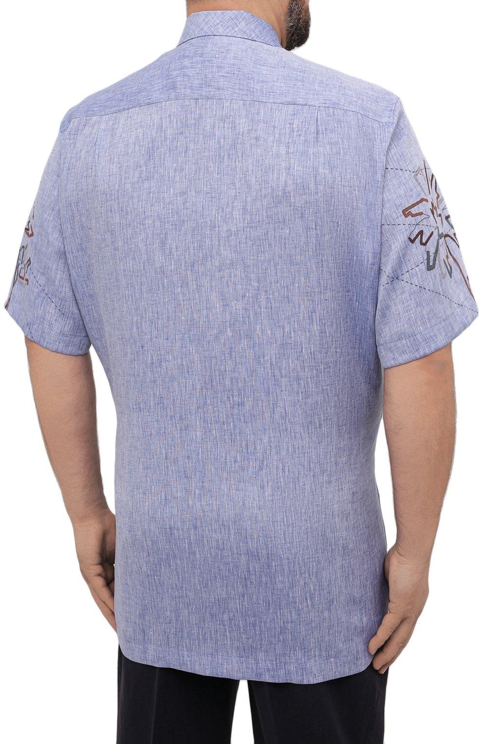 Мужская льняная рубашка CORTIGIANI синего цвета, арт. 115620/0000/60-70   Фото 4 (Воротник: Акула; Рукава: Короткие; Случай: Повседневный; Принт: С принтом; Длина (для топов): Удлиненные; Материал внешний: Лен; Стили: Кэжуэл)