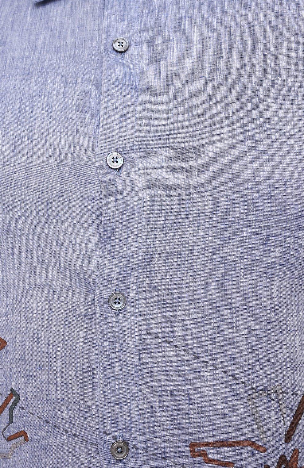Мужская льняная рубашка CORTIGIANI синего цвета, арт. 115620/0000/60-70   Фото 5 (Воротник: Акула; Рукава: Короткие; Случай: Повседневный; Принт: С принтом; Длина (для топов): Удлиненные; Материал внешний: Лен; Стили: Кэжуэл)