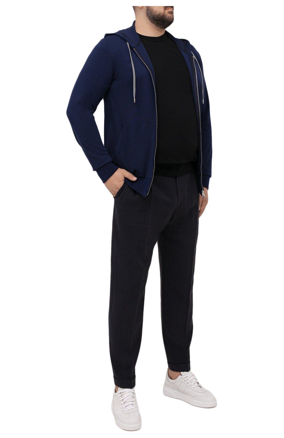 Мужской толстовка из вискозы MARCO PESCAROLO синего цвета, арт. MIKE/4362   Фото 2 (Big sizes: Big Sizes; Рукава: Длинные; Мужское Кросс-КТ: Толстовка-одежда; Длина (для топов): Удлиненные; Стили: Спорт-шик; Материал внешний: Вискоза)