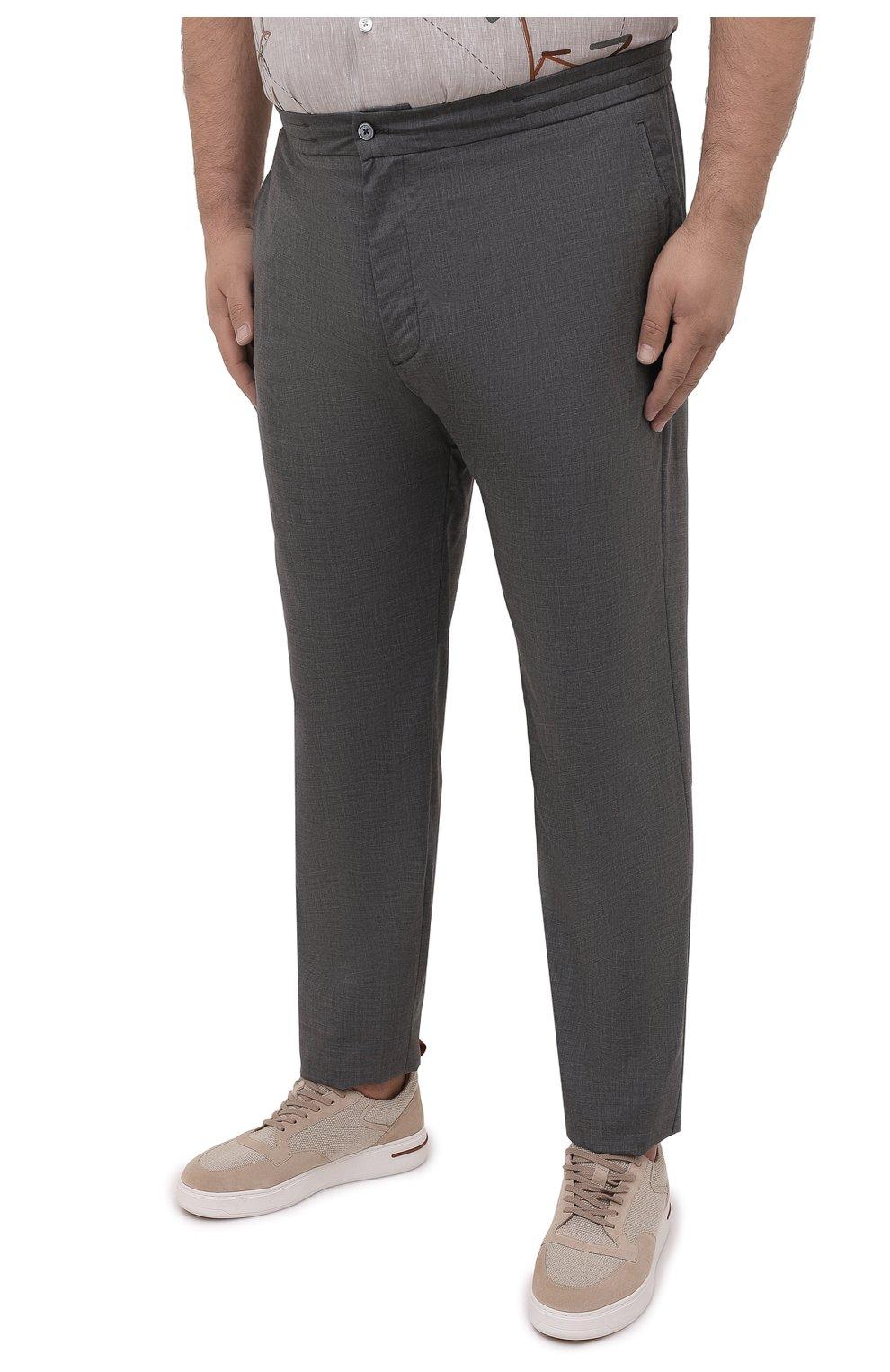 Мужские кашемировые брюки MARCO PESCAROLO серого цвета, арт. CHIAIAM/4334 | Фото 3 (Big sizes: Big Sizes; Материал внешний: Шерсть, Кашемир; Длина (брюки, джинсы): Стандартные; Случай: Повседневный; Стили: Кэжуэл)