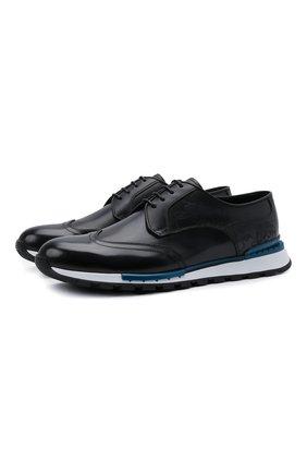 Мужские кожаные кроссовки BERLUTI темно-синего цвета, арт. S5541-001   Фото 1
