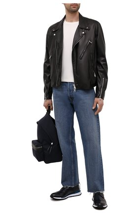 Мужские кожаные кроссовки BERLUTI темно-синего цвета, арт. S5541-001   Фото 2