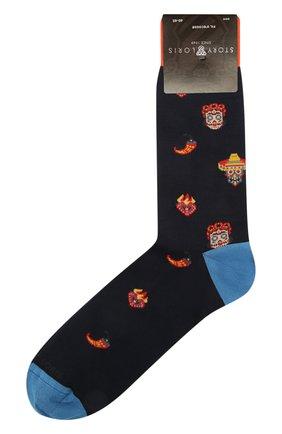 Мужские хлопковые носки STORY LORIS темно-синего цвета, арт. 5409 | Фото 1 (Материал внешний: Хлопок; Кросс-КТ: бельё)