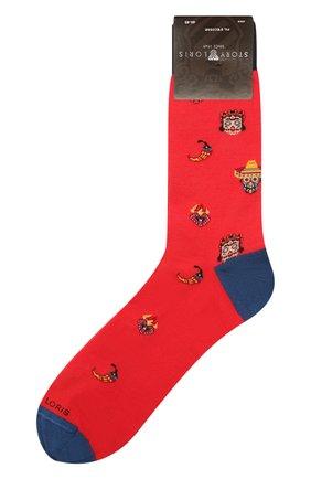 Мужские хлопковые носки STORY LORIS красного цвета, арт. 5409 | Фото 1 (Кросс-КТ: бельё; Материал внешний: Хлопок)