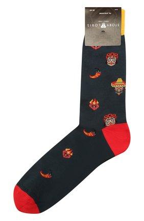 Мужские хлопковые носки STORY LORIS темно-зеленого цвета, арт. 5409 | Фото 1 (Кросс-КТ: бельё; Материал внешний: Хлопок)