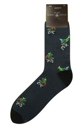 Мужские носки STORY LORIS темно-зеленого цвета, арт. 5433 | Фото 1 (Материал внешний: Хлопок, Синтетический материал; Кросс-КТ: бельё)