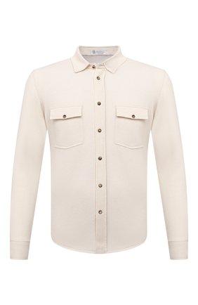 Мужская рубашка из шерсти и кашемира BRUNELLO CUCINELLI бежевого цвета, арт. M3600276 | Фото 1