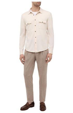 Мужская рубашка из шерсти и кашемира BRUNELLO CUCINELLI бежевого цвета, арт. M3600276 | Фото 2