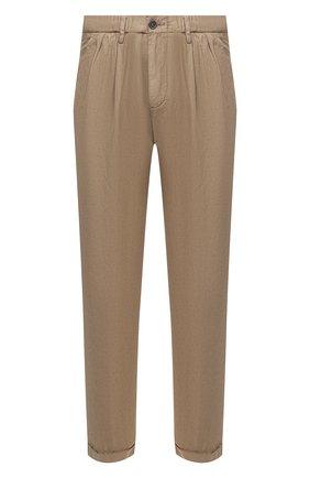 Мужские брюки из хлопка и льна PAUL&SHARK коричневого цвета, арт. 21414043/FJD | Фото 1