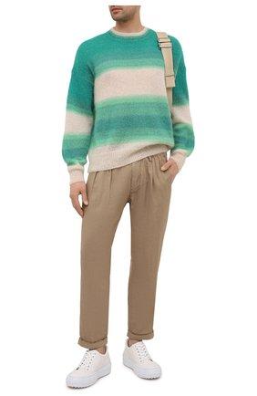 Мужские брюки из хлопка и льна PAUL&SHARK коричневого цвета, арт. 21414043/FJD | Фото 2